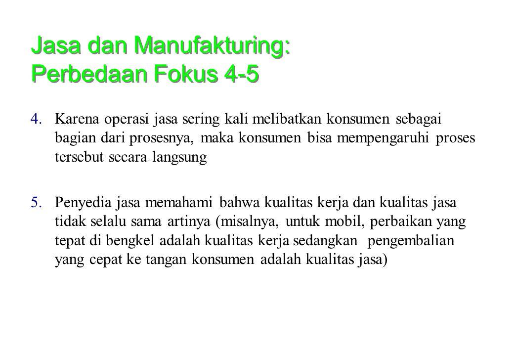 Jasa dan Manufakturing: Perbedaan Fokus 4-5 4.Karena operasi jasa sering kali melibatkan konsumen sebagai bagian dari prosesnya, maka konsumen bisa me