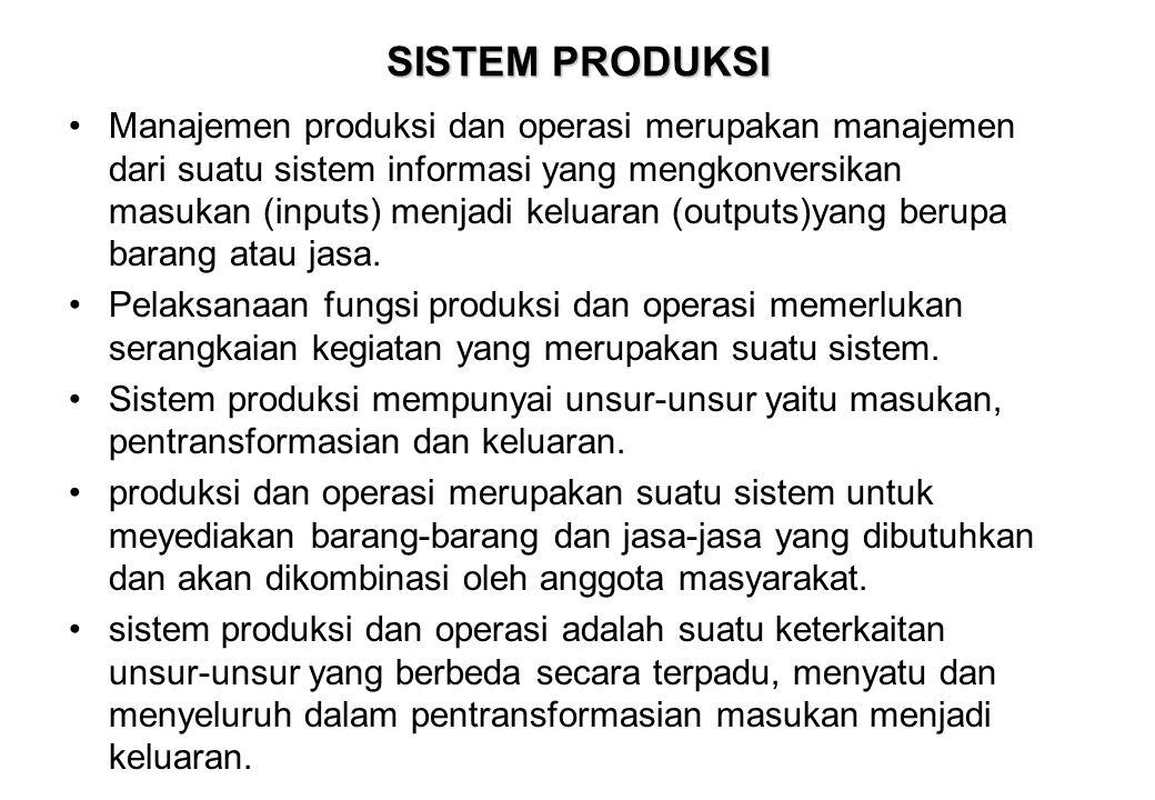 SISTEM PRODUKSI •Manajemen produksi dan operasi merupakan manajemen dari suatu sistem informasi yang mengkonversikan masukan (inputs) menjadi keluaran