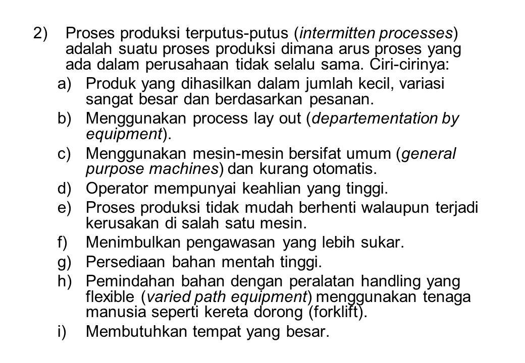 2)Proses produksi terputus-putus (intermitten processes) adalah suatu proses produksi dimana arus proses yang ada dalam perusahaan tidak selalu sama.