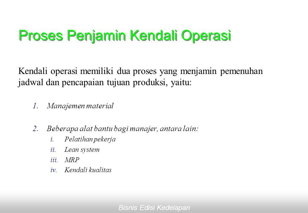 Bisnis Edisi Kedelapan Proses Penjamin Kendali Operasi Kendali operasi memiliki dua proses yang menjamin pemenuhan jadwal dan pencapaian tujuan produksi, yaitu: 1.Manajemen material 2.Beberapa alat bantu bagi manajer, antara lain: i.Pelatihan pekerja ii.Lean system iii.MRP iv.Kendali kualitas