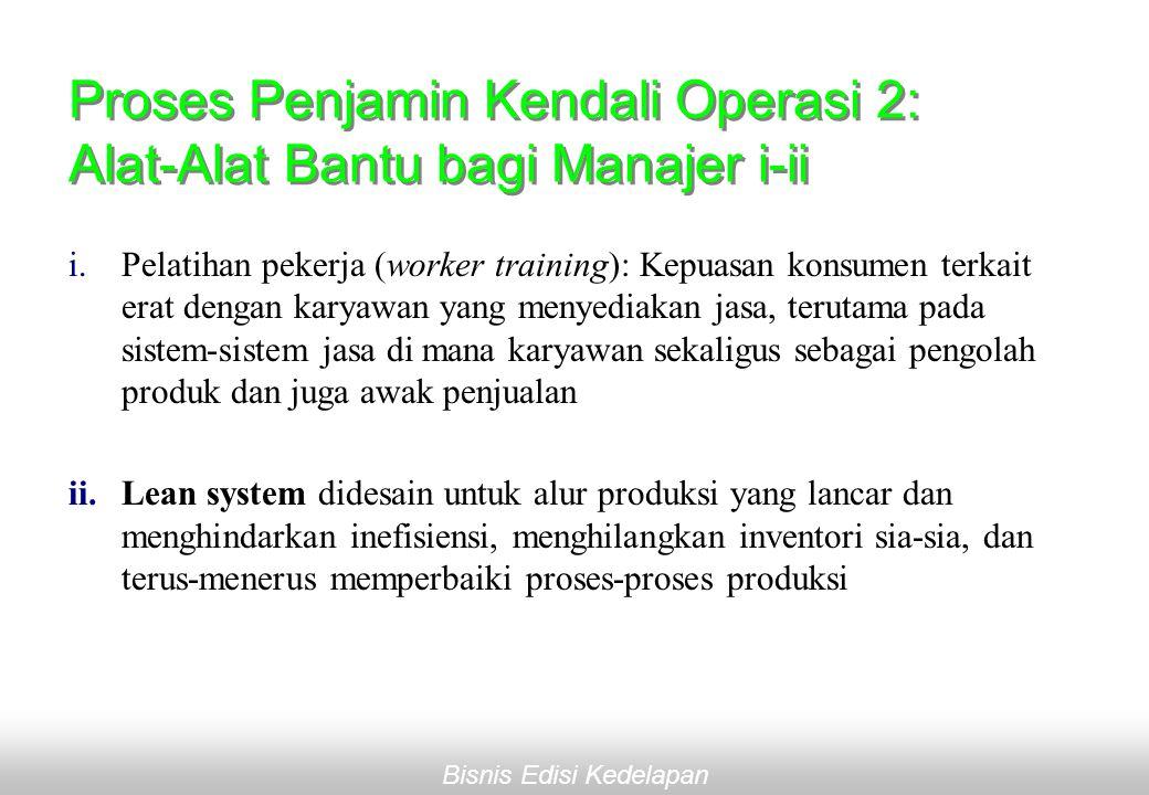 Bisnis Edisi Kedelapan Proses Penjamin Kendali Operasi 2: Alat-Alat Bantu bagi Manajer i-ii i.Pelatihan pekerja (worker training): Kepuasan konsumen terkait erat dengan karyawan yang menyediakan jasa, terutama pada sistem-sistem jasa di mana karyawan sekaligus sebagai pengolah produk dan juga awak penjualan ii.Lean system didesain untuk alur produksi yang lancar dan menghindarkan inefisiensi, menghilangkan inventori sia-sia, dan terus-menerus memperbaiki proses-proses produksi