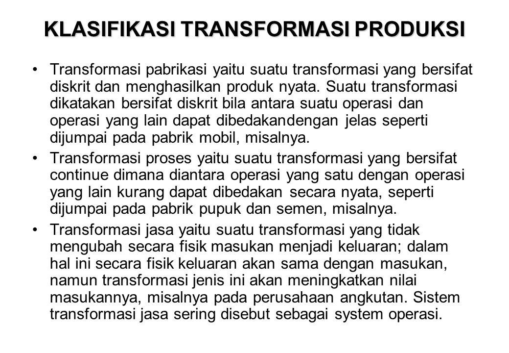 KLASIFIKASI TRANSFORMASI PRODUKSI •Transformasi pabrikasi yaitu suatu transformasi yang bersifat diskrit dan menghasilkan produk nyata. Suatu transfor