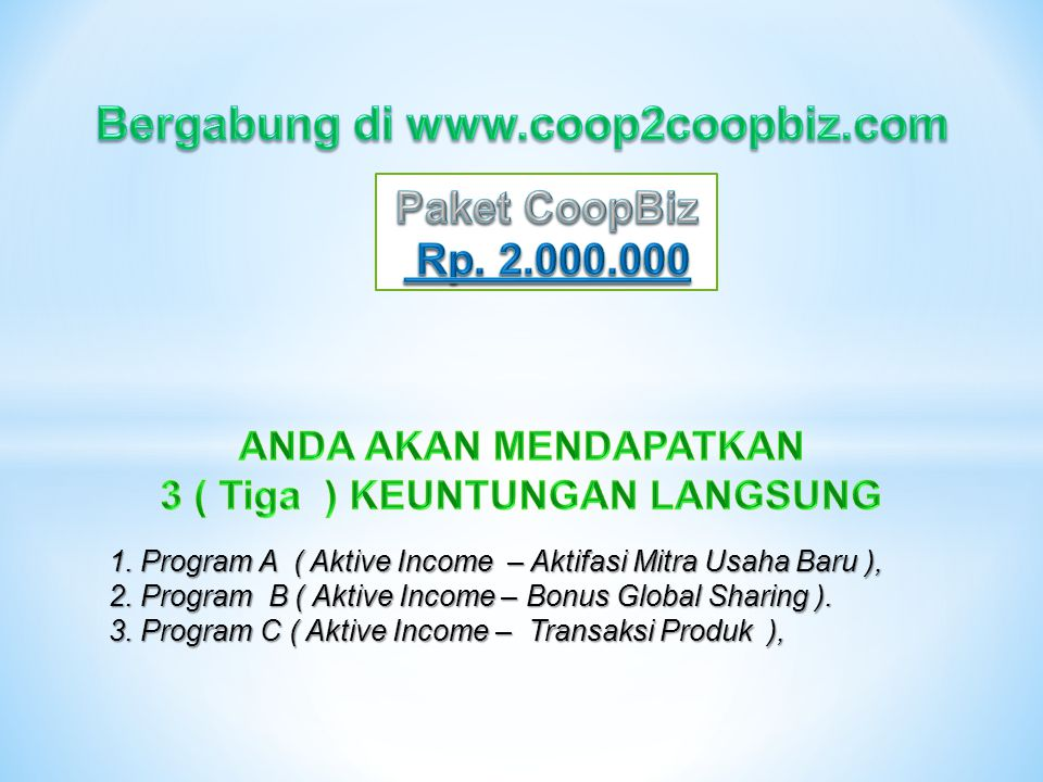 1. Program A ( Aktive Income – Aktifasi Mitra Usaha Baru ), 2.
