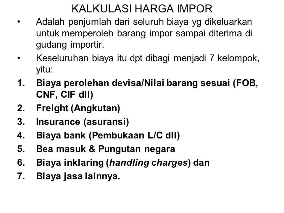 1.Kalkulasi impor (Import Calculation) 2.Harga Pokok Impor 3.PPh & PPN-BM 4.Bagan Perhitungan / Kalkulasi Impor