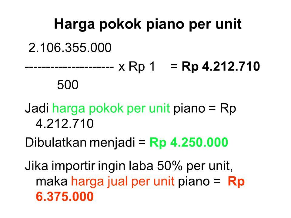 Jawab Harga 500 unit piano @ DM 2,500 = DM 1.250.000 @ Rp 1.325 = Rp 1.656.250.000 Premi asuransi 2 % x Rp 1.656.250.000 = Rp 33.125.000 (+) = Rp 1.68