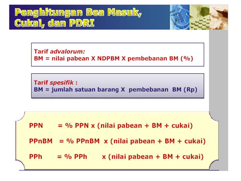 III. PUNGUTAN NEGARA 1)PPN Impor (CNF/CIF x NDPBM + Bea Masuk) : …% x ( … x … + …)= Rp …. 2)PPnBM (CNF/CIF x NDPBM + Bea Masuk) : …% x ( … x … + …)= R