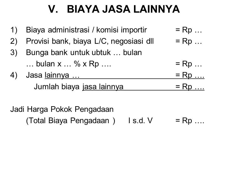 IV. BIAYA INKLARING (HANDLING CHARGERS) 7)Transportasi: : …. Ton x Rp ….= Rp …. 8)Sewa Gudang: : …. Ton x Rp ….= Rp …. 9)Jasa EMKL/Freight Forwarder: