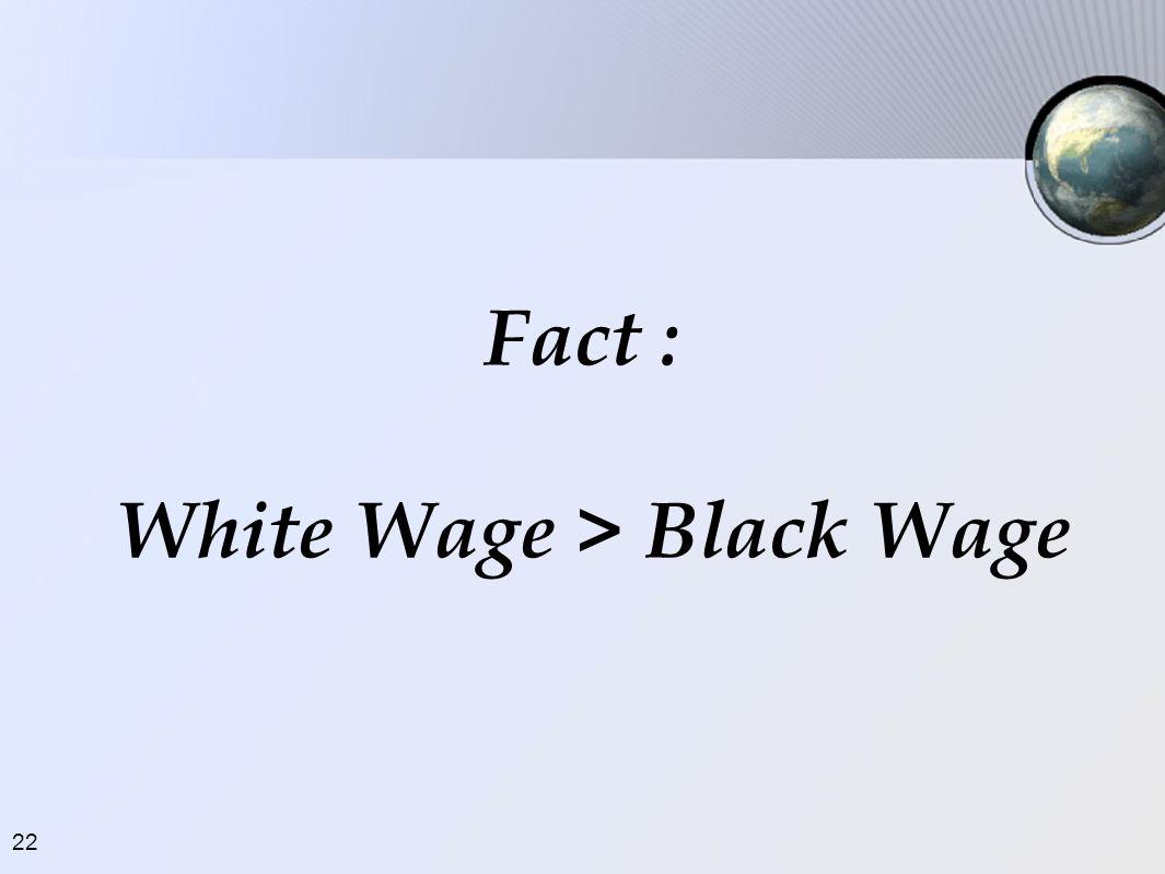 22 Fact : White Wage > Black Wage