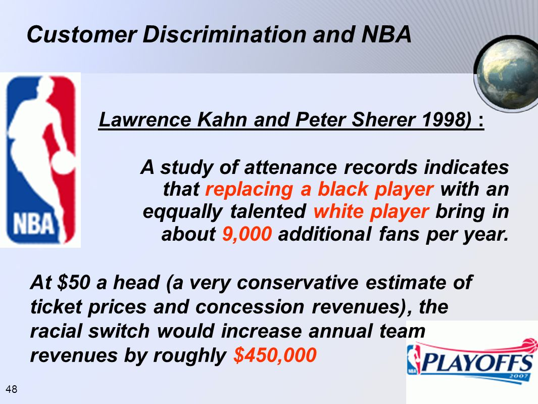 48 Customer Discrimination and NBA Lawrence Kahn and Peter Sherer 1998) : A study of attenance records indicates that replacing a black player with an eqqually talented white player bring in about 9,000 additional fans per year.
