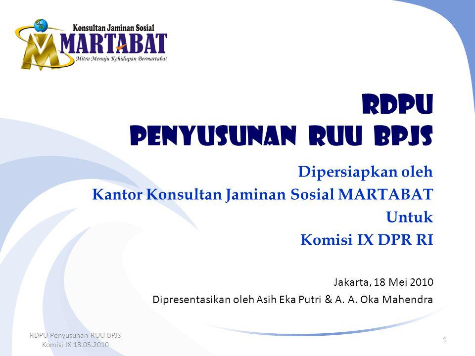 RDPU penyusunan ruu BPJS Dipersiapkan oleh Kantor Konsultan Jaminan Sosial MARTABAT Untuk Komisi IX DPR RI Jakarta, 18 Mei 2010 Dipresentasikan oleh A