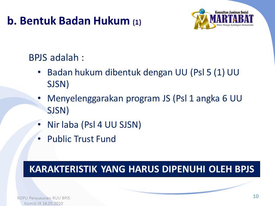 BPJS adalah : • Badan hukum dibentuk dengan UU (Psl 5 (1) UU SJSN) • Menyelenggarakan program JS (Psl 1 angka 6 UU SJSN) • Nir laba (Psl 4 UU SJSN) •
