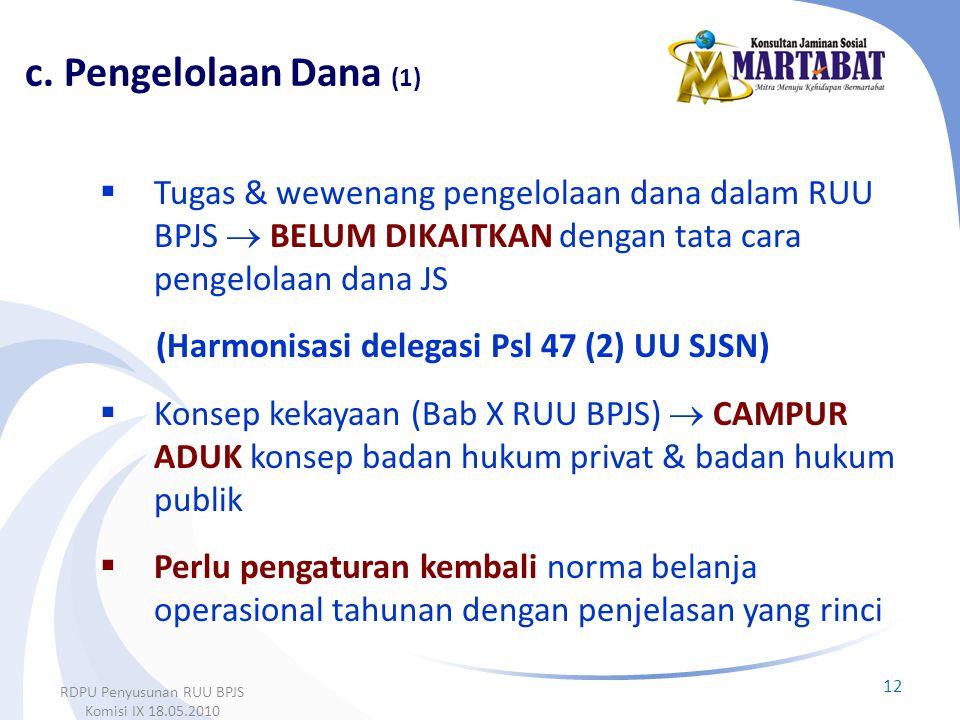  Tugas & wewenang pengelolaan dana dalam RUU BPJS  BELUM DIKAITKAN dengan tata cara pengelolaan dana JS (Harmonisasi delegasi Psl 47 (2) UU SJSN) 