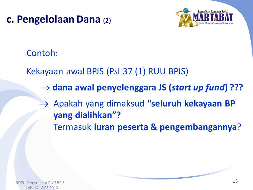 """Contoh: Kekayaan awal BPJS (Psl 37 (1) RUU BPJS)  dana awal penyelenggara JS (start up fund) ???  Apakah yang dimaksud """"seluruh kekayaan BP yang dia"""