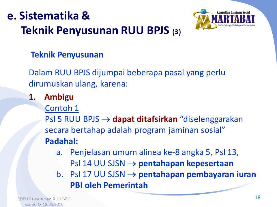"""Teknik Penyusunan Dalam RUU BPJS dijumpai beberapa pasal yang perlu dirumuskan ulang, karena: 1.Ambigu Contoh 1 Psl 5 RUU BPJS  dapat ditafsirkan """"di"""