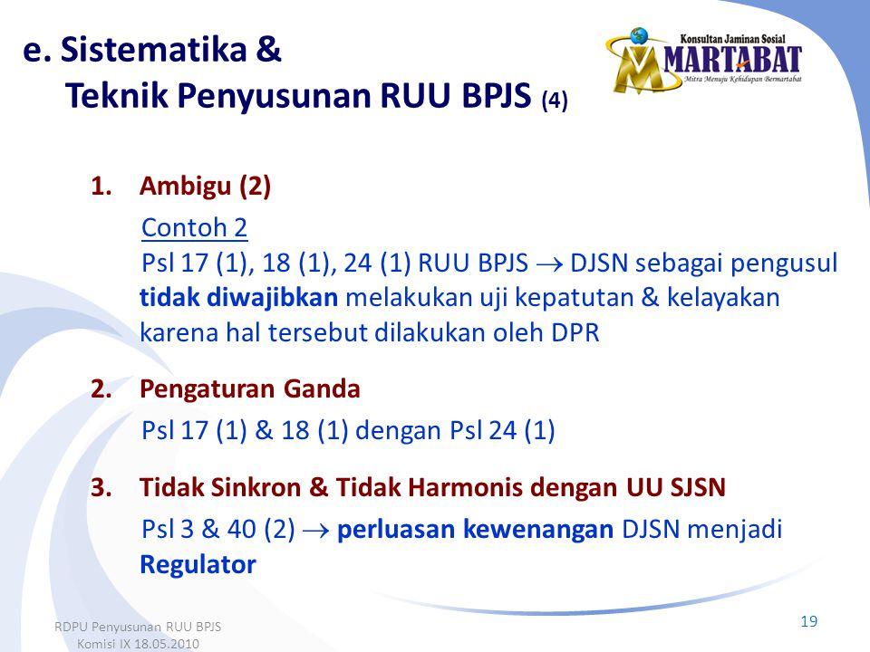 1.Ambigu (2) Contoh 2 Psl 17 (1), 18 (1), 24 (1) RUU BPJS  DJSN sebagai pengusul tidak diwajibkan melakukan uji kepatutan & kelayakan karena hal ters