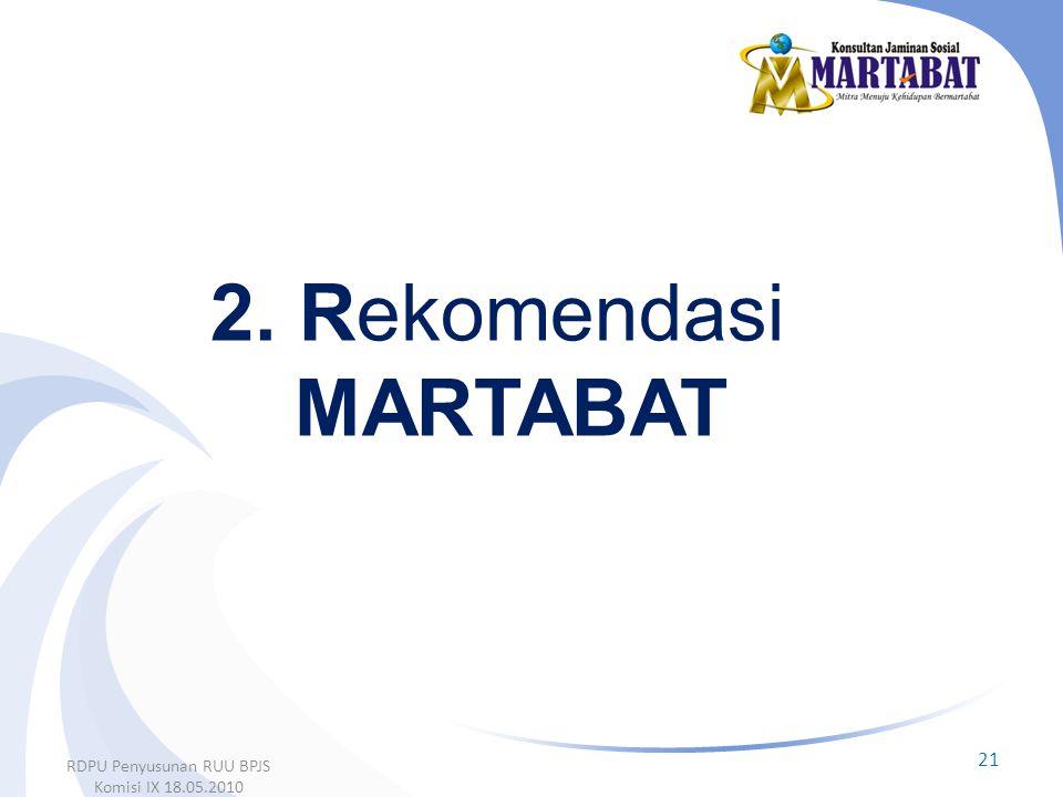 2. Rekomendasi MARTABAT 21 RDPU Penyusunan RUU BPJS Komisi IX 18.05.2010