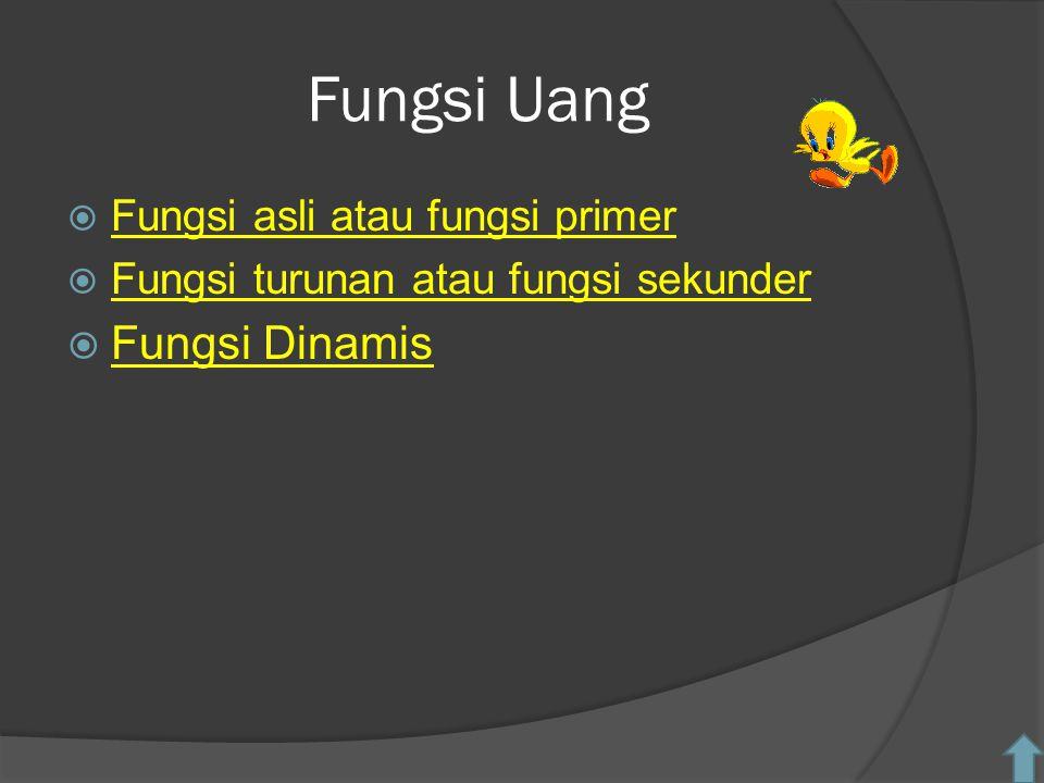 Fungsi Uang  Fungsi asli atau fungsi primer Fungsi asli atau fungsi primer  Fungsi turunan atau fungsi sekunder Fungsi turunan atau fungsi sekunder  Fungsi Dinamis Fungsi Dinamis