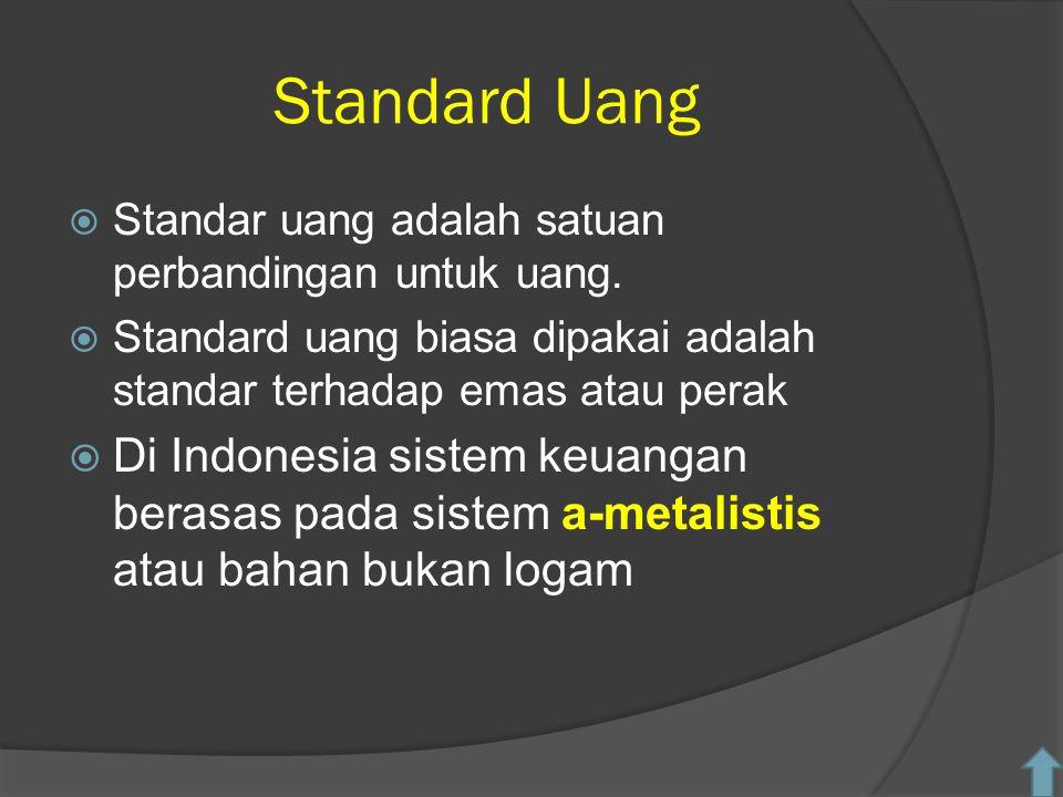 Standard Uang  Standar uang adalah satuan perbandingan untuk uang.
