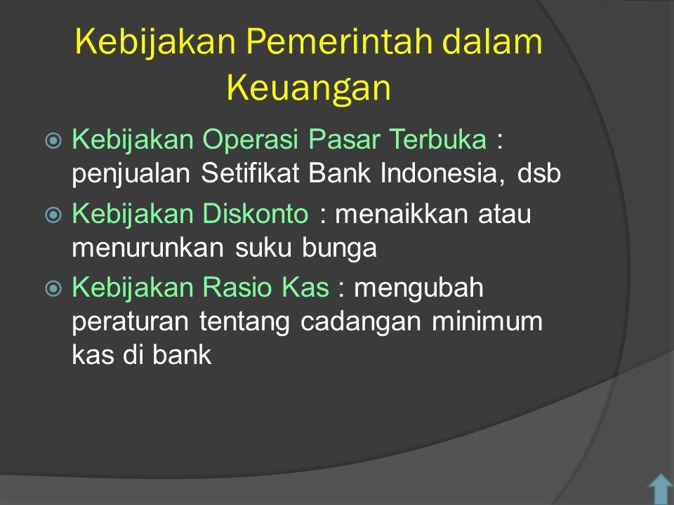 Kebijakan Pemerintah dalam Keuangan  Kebijakan Operasi Pasar Terbuka : penjualan Setifikat Bank Indonesia, dsb  Kebijakan Diskonto : menaikkan atau menurunkan suku bunga  Kebijakan Rasio Kas : mengubah peraturan tentang cadangan minimum kas di bank
