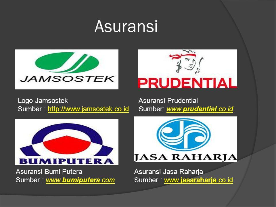 Asuransi Logo Jamsostek Sumber : http://www.jamsostek.co.idhttp://www.jamsostek.co.id Asuransi Prudential Sumber: www.prudential.co.idwww.prudential.co.id Asuransi Bumi Putera Sumber : www.bumiputera.comwww.bumiputera.com Asuransi Jasa Raharja Sumber : www.jasaraharja.co.idwww.jasaraharja.co.id
