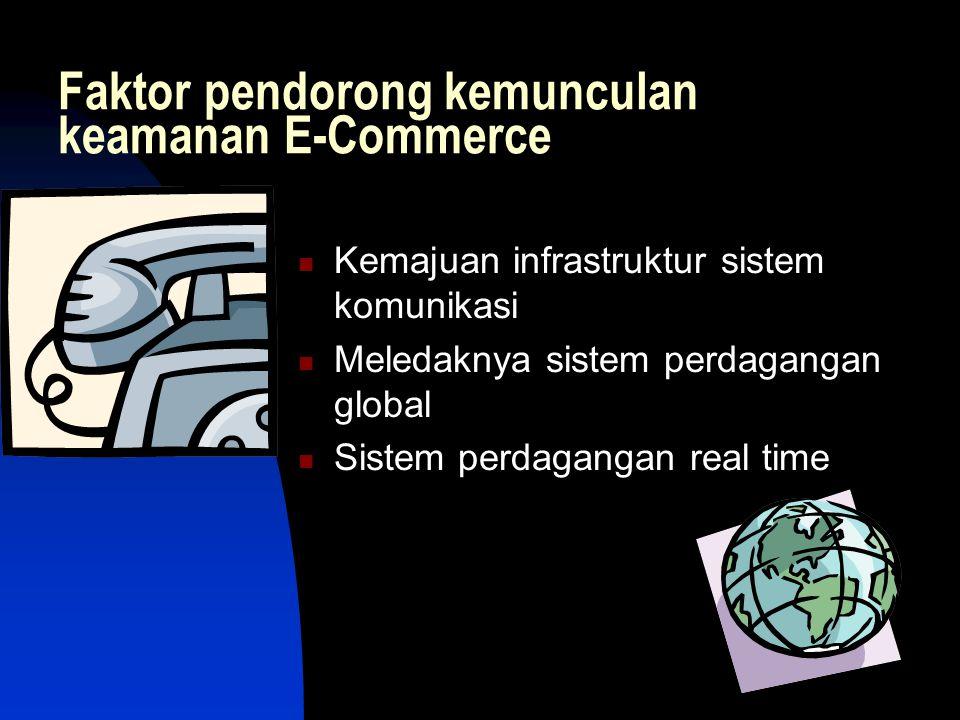 Faktor pendorong kemunculan keamanan E-Commerce  Kemajuan infrastruktur sistem komunikasi  Meledaknya sistem perdagangan global  Sistem perdagangan real time