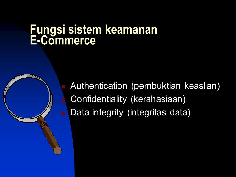 Fungsi sistem keamanan E-Commerce  Authentication (pembuktian keaslian)  Confidentiality (kerahasiaan)  Data integrity (integritas data)