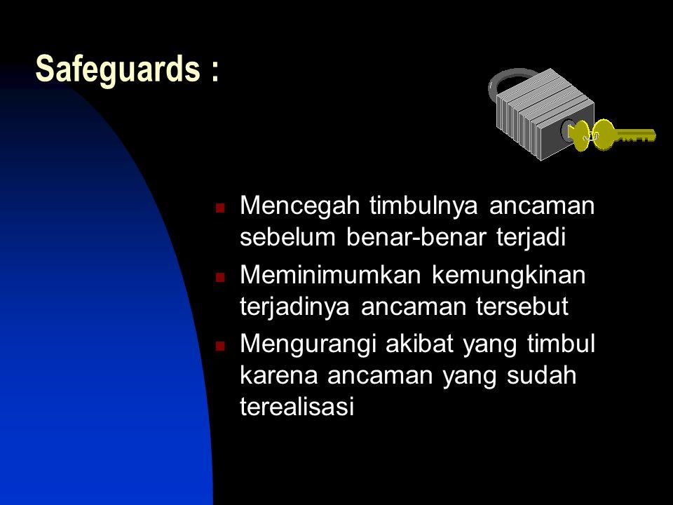 Safeguards :  Mencegah timbulnya ancaman sebelum benar-benar terjadi  Meminimumkan kemungkinan terjadinya ancaman tersebut  Mengurangi akibat yang timbul karena ancaman yang sudah terealisasi