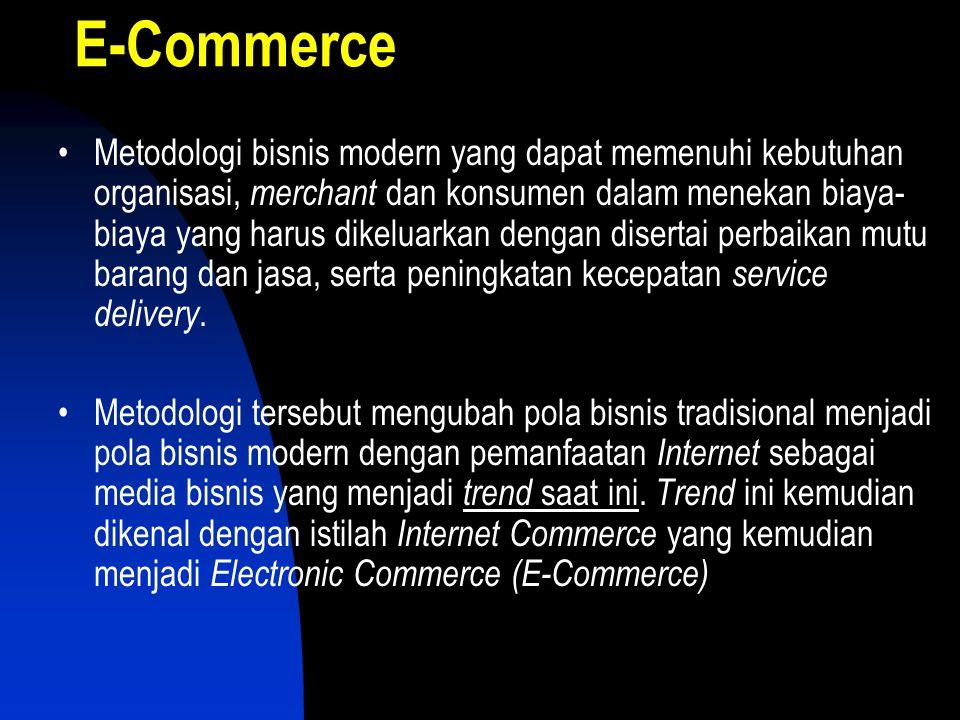 E-Commerce •Metodologi bisnis modern yang dapat memenuhi kebutuhan organisasi, merchant dan konsumen dalam menekan biaya- biaya yang harus dikeluarkan dengan disertai perbaikan mutu barang dan jasa, serta peningkatan kecepatan service delivery.