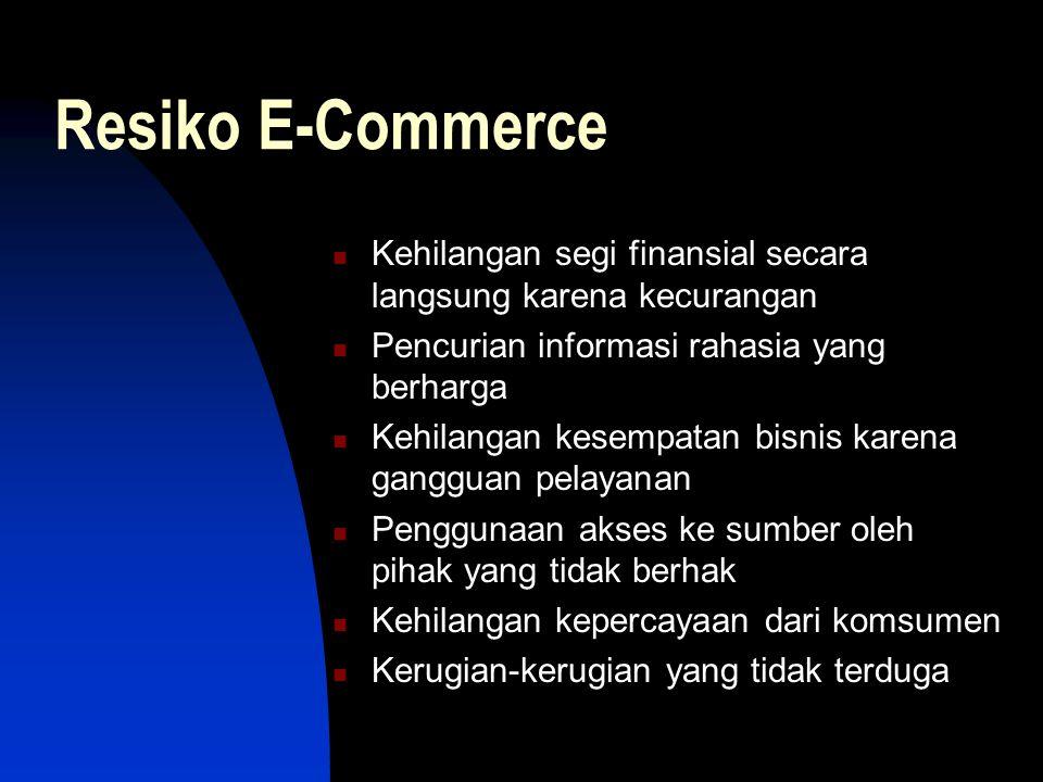 Resiko E-Commerce  Kehilangan segi finansial secara langsung karena kecurangan  Pencurian informasi rahasia yang berharga  Kehilangan kesempatan bisnis karena gangguan pelayanan  Penggunaan akses ke sumber oleh pihak yang tidak berhak  Kehilangan kepercayaan dari komsumen  Kerugian-kerugian yang tidak terduga