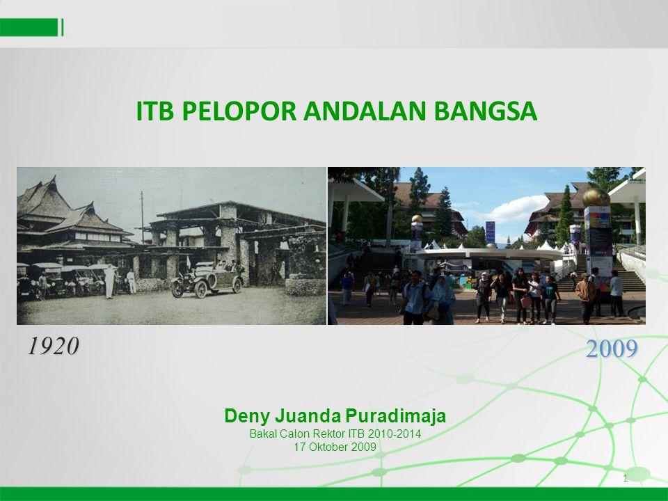 1 1920 2009 Deny Juanda Puradimaja Bakal Calon Rektor ITB 2010-2014 17 Oktober 2009 ITB PELOPOR ANDALAN BANGSA