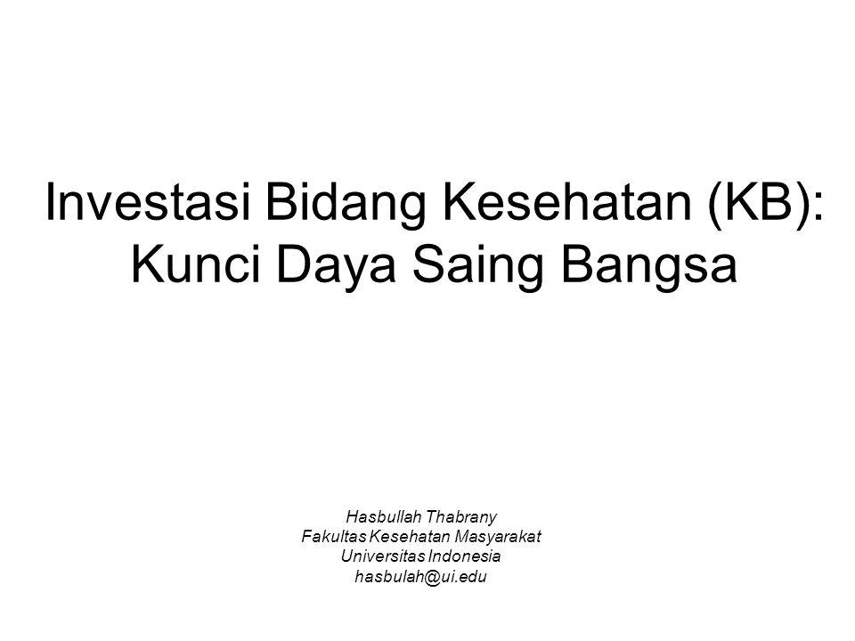 Investasi Bidang Kesehatan (KB): Kunci Daya Saing Bangsa Hasbullah Thabrany Fakultas Kesehatan Masyarakat Universitas Indonesia hasbulah@ui.edu