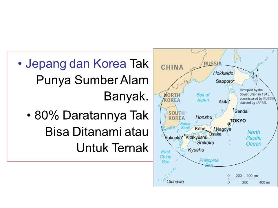 • Jepang dan Korea Tak Punya Sumber Alam Banyak. • 80% Daratannya Tak Bisa Ditanami atau Untuk Ternak