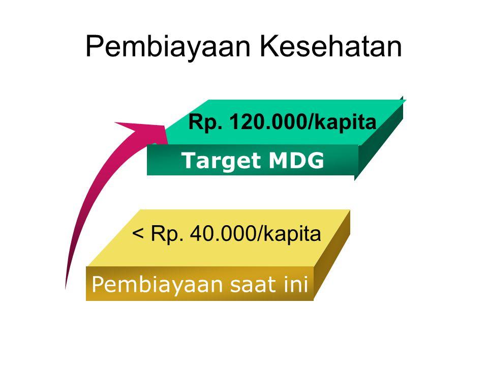 Pembiayaan Kesehatan Target MDG Pembiayaan saat ini < Rp. 40.000/kapita Rp. 120.000/kapita