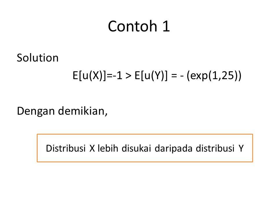 Contoh 1 Solution E[u(X)]=-1 > E[u(Y)] = - (exp(1,25)) Dengan demikian, Distribusi X lebih disukai daripada distribusi Y