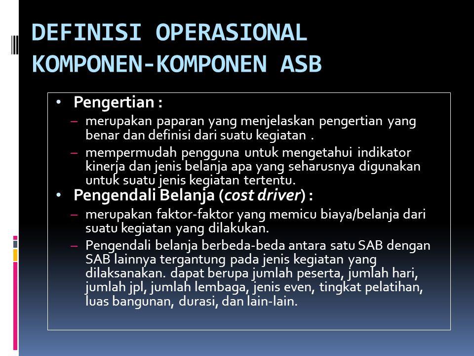 DEFINISI OPERASIONAL KOMPONEN-KOMPONEN ASB • Pengertian : – merupakan paparan yang menjelaskan pengertian yang benar dan definisi dari suatu kegiatan.