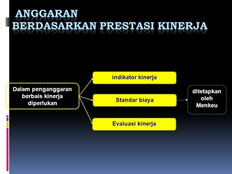 Dalam penganggaran berbais kinerja diperlukan indikator kinerja Standar biaya Evaluasi kinerja ditetapkan oleh Menkeu