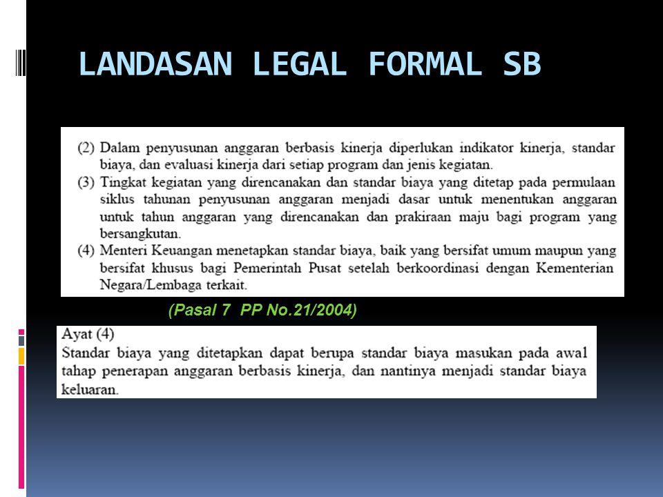 LANDASAN LEGAL FORMAL SB (Pasal 7 PP No.21/2004)