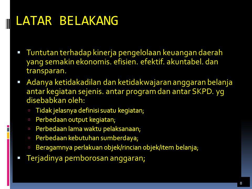 Standar Biaya Umum (SBU) 1.Honor penanggung jawab pengelola keuangan 2.