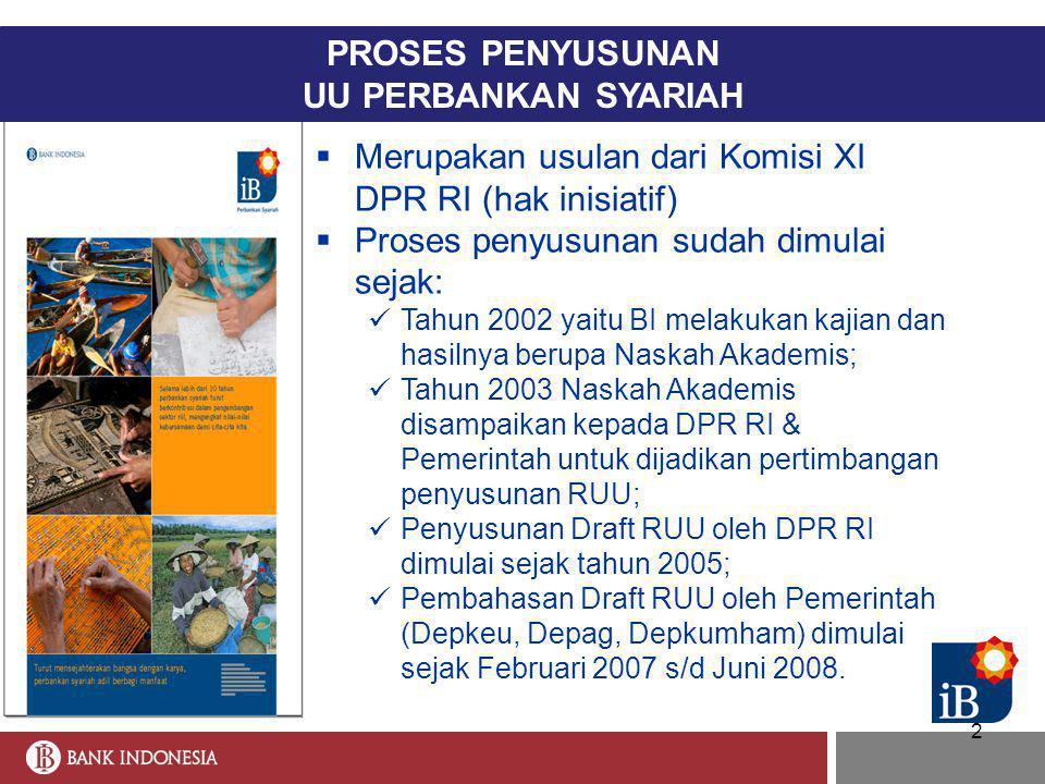 2  Merupakan usulan dari Komisi XI DPR RI (hak inisiatif)  Proses penyusunan sudah dimulai sejak:  Tahun 2002 yaitu BI melakukan kajian dan hasilny