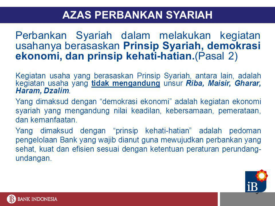 5 AZAS PERBANKAN SYARIAH Perbankan Syariah dalam melakukan kegiatan usahanya berasaskan Prinsip Syariah, demokrasi ekonomi, dan prinsip kehati-hatian.