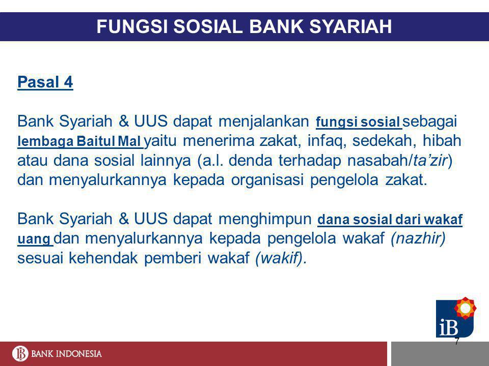 7 FUNGSI SOSIAL BANK SYARIAH Pasal 4 Bank Syariah & UUS dapat menjalankan fungsi sosial sebagai lembaga Baitul Mal yaitu menerima zakat, infaq, sedeka