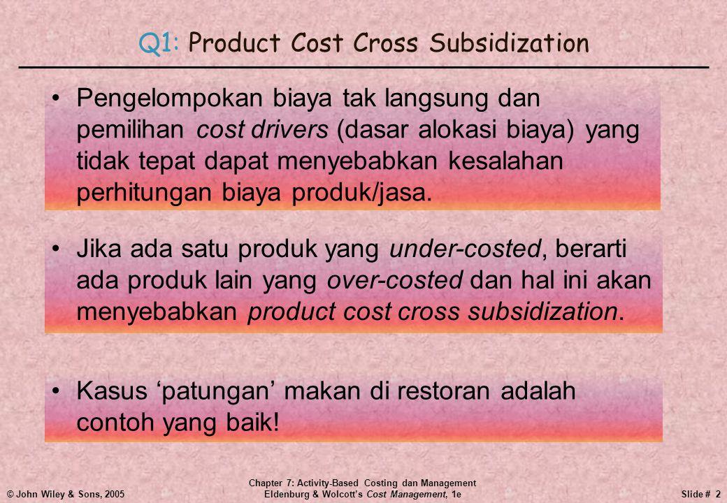 © John Wiley & Sons, 2005 Chapter 7: Activity-Based Costing dan Management Eldenburg & Wolcott's Cost Management, 1eSlide # 3 Q1: Product Cost Cross Subsidization •2 orang yang diet menyubsidi 2 orang yang tidak diet.