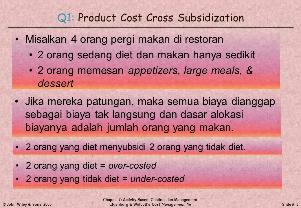 © John Wiley & Sons, 2005 Chapter 7: Activity-Based Costing dan Management Eldenburg & Wolcott's Cost Management, 1eSlide # 3 Q1: Product Cost Cross Subsidization •2 orang yang diet menyubsidi 2 orang yang tidak diet.