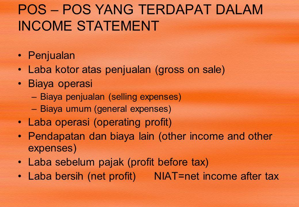 POS – POS YANG TERDAPAT DALAM INCOME STATEMENT •Penjualan •Laba kotor atas penjualan (gross on sale) •Biaya operasi –Biaya penjualan (selling expenses