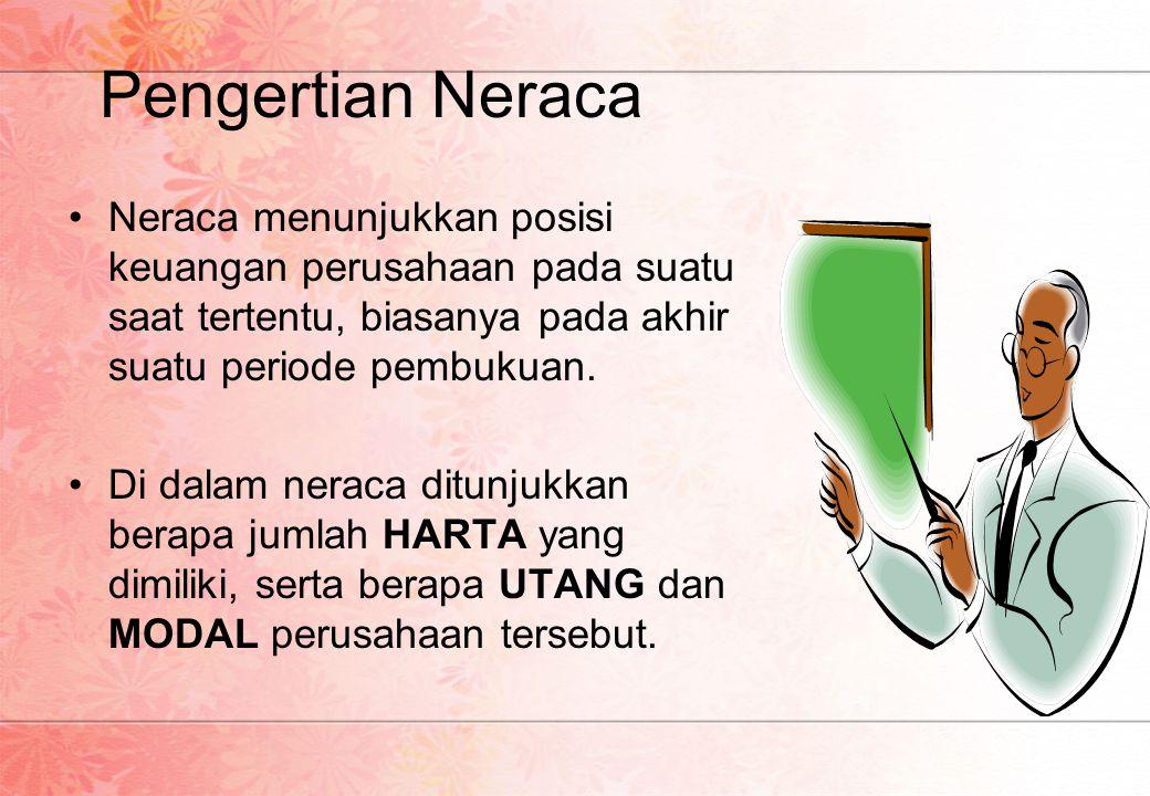 Pengertian Neraca •N•Neraca menunjukkan posisi keuangan perusahaan pada suatu saat tertentu, biasanya pada akhir suatu periode pembukuan. •D•Di dalam