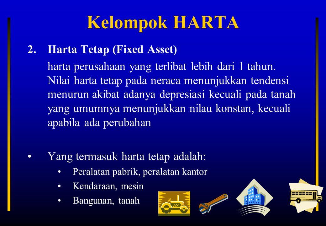 Kelompok HARTA 2.Harta Tetap (Fixed Asset) harta perusahaan yang terlibat lebih dari 1 tahun. Nilai harta tetap pada neraca menunjukkan tendensi menur