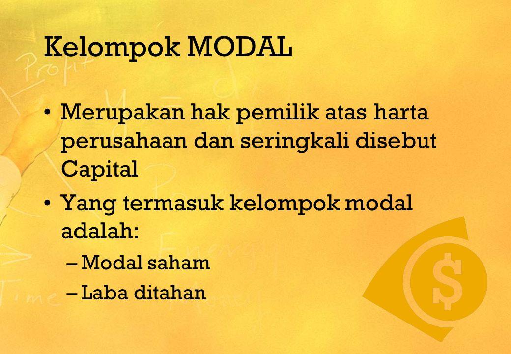 Kelompok MODAL •M•Merupakan hak pemilik atas harta perusahaan dan seringkali disebut Capital •Y•Yang termasuk kelompok modal adalah: –M–Modal saham –L
