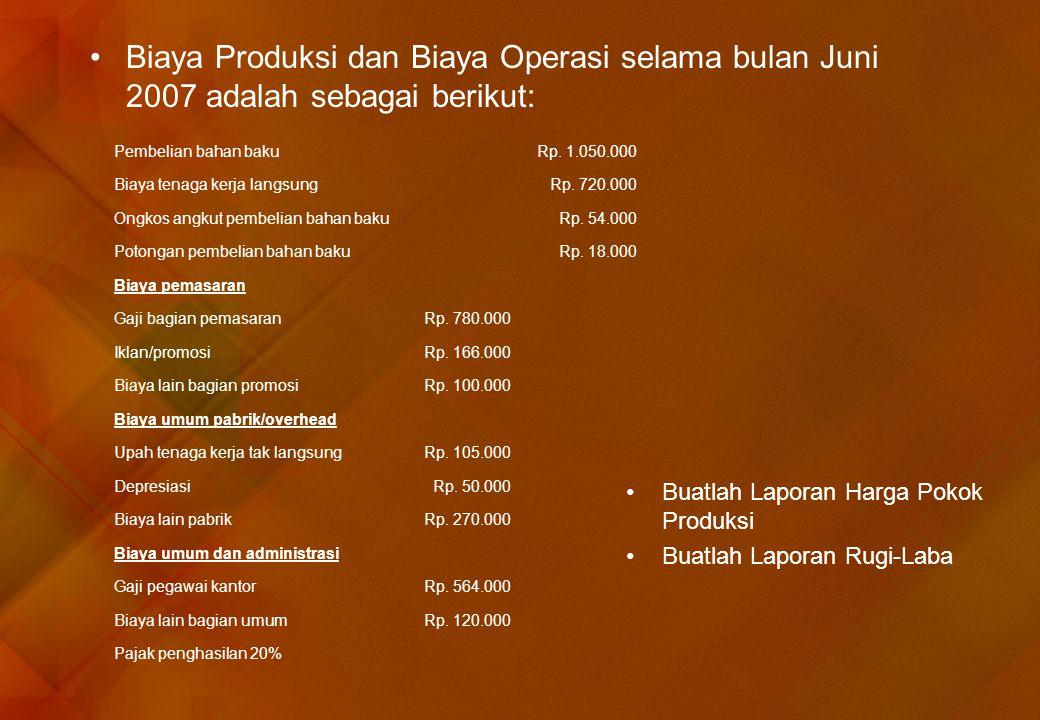 •Biaya Produksi dan Biaya Operasi selama bulan Juni 2007 adalah sebagai berikut: Pembelian bahan bakuRp. 1.050.000 Biaya tenaga kerja langsungRp. 720.