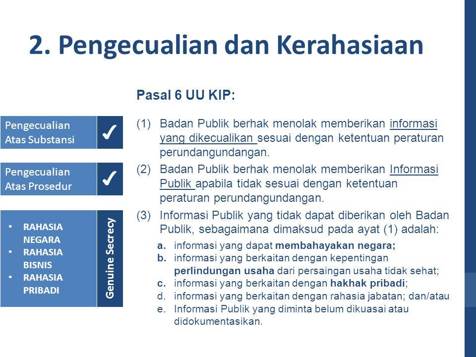 2. Pengecualian dan Kerahasiaan Pasal 6 UU KIP: (1)Badan Publik berhak menolak memberikan informasi yang dikecualikan sesuai dengan ketentuan peratura