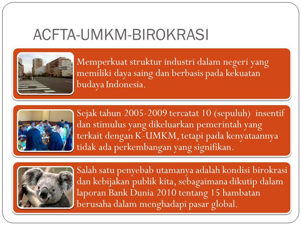 ACFTA-UMKM-BIROKRASI Memperkuat struktur industri dalam negeri yang memiliki daya saing dan berbasis pada kekuatan budaya Indonesia.